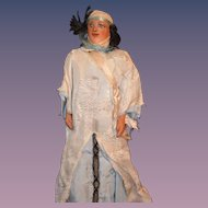 Old Leather Doll Unusual Painted Features Dressed