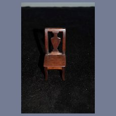 Vintage Dollhouse Miniature Wood Chair 3.5 inches