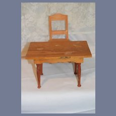 Old Wood Doll Table and Chair Large Scale Dollhouse Ornate Continental Daniel Scotten & Co. Farm Table Miniature