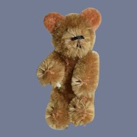Vintage Miniature Doll Size Jointed Two Tone Mohair Teddy Bear