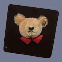 Steiff Teddy Bear Pin W/ Button Mohair Adorable