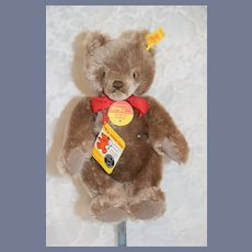 Vintage Teddy Bear Button Tag Chest Tag Brown Steiff Bear Jointed Mohair EAN: 0202/26