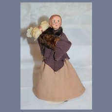 Old Sculpted Tagged KimCraft Doll W/ Muff Character Doll
