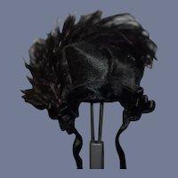 "Wonderful Miniature Black Silk beaded Feather doll Bonnet - 6.5"" circumference"