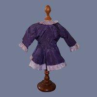 "Old Beautiful Purple Silk Doll Coat Jacket French Market- 8.5"""