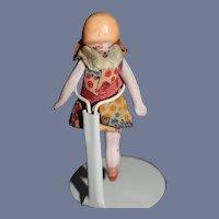 "Antique German Miniature Dollhouse Blonde All Bisque Doll 2.8"""