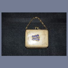 """Antique Miniature Doll Purse with Enamel Letter M or W - 2.3"""""""