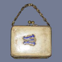 Antique Miniature Doll Purse with Enamel Letter M or W - 2.3""