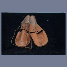 """Old Brown Leather Doll Shoes 4.3"""""""