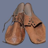Old Brown Leather Doll Shoes 4.3""