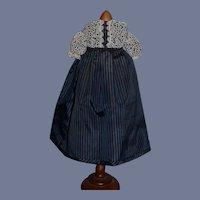 "Vintage Beautiful Black And Blue Stripe Doll Dress 12"""