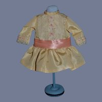 """Vintage Artist Vive Les Bebes 1988 UFDC Small Yellow Drop Waist French Market Doll Dress - 5"""""""
