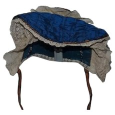 """Wonderful Tufted Beautiful Blue Doll Bonnet With White Lace -  18"""" circumference"""