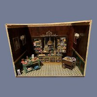 Vintage Artist Doll Miniature Diorama Filled Room Bakery W/ Accessories W/ Lights