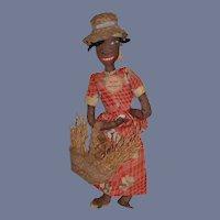 Old ClothBlack Doll Eliza from Trinidad W/ Old Paper Tag