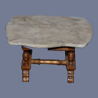 Old Doll Marble Top Table Wood Base Miniature Dollhouse