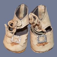 Vintage Leather Doll Shoes W/ Buckles: Bows