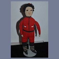 Old Stockinette Doll Cloth Doll Unusual Character