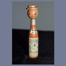 Vintage Japanese Wood Kokeshi Bottle Doll Daikoku Old Tag