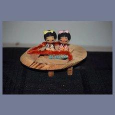 Vintage Japanese Kokeshi Wooden Doll Set On Wood Stand
