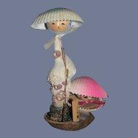 Vintage Japanese Wood Kokeshi Seashell Doll Two Dolls Sweet Set