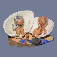 Vintage Japanese Wood Kokeshi Doll Sitting In Seashell Dolls Sets