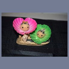 Vintage Japanese Kokeshi Wooden Seashell Dolls on Wood Stand