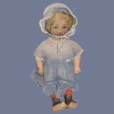 Antique Doll Cloth Printed Large Dressed
