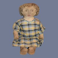 Antique Cloth Rag Doll Printed Large Early Dressed