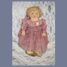 Antique Cloth Doll Printed Doll Dressed W/ Clothes and Shoes