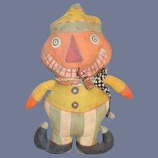 Vintage Artist Pumpkin Head Oil Cloth Doll