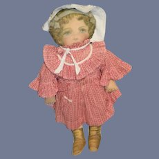 Antique Cloth Printed Rag Doll Old Cotton Dress