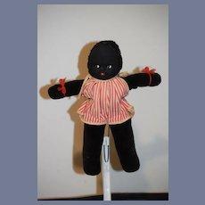 Old Black Cloth Doll Velveteen Mask Face Side Glancing