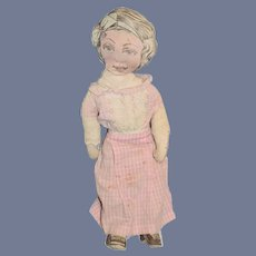 Old Cloth Doll Dressed Printed
