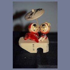 Two Vintage Signed Japanese Wood Kokeshi Dolls Sitting on Platform 4  inches