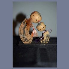 Two Vintage Japanese Wood Kokeshi Dolls Standing on Platform 3.5 inches