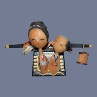 Vintage Japanese Signed Wood Kokeshi Doll 2.5 inches