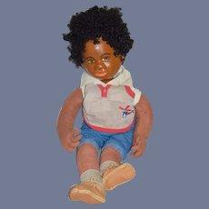 Wonderful Vintage Black Artist Doll Sculpted Head Cloth Body