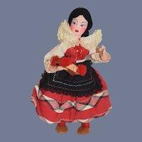 Vintage Portugal Black Hair Cloth Dancer Doll 8 inches