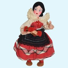 Vintage Portugal Black Hair Cloth Dancer Doll 8 inches