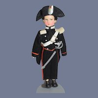 Vintage 7.5 inch Cloth Painted Face Soldier Doll