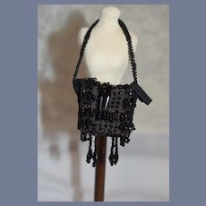 Fabulous Antique Miniature Doll Black Jet Beaded Doll Purse 2 inches