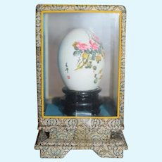 Beautiful Chinese Pink Flower Hand Painted Egg in Brocade Display box 5 inches
