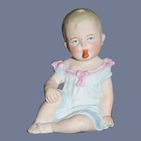 Vintage Doll Piano Baby Bisque Figure Baby Sitting W/ Pacifier