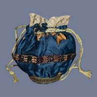 Antique Fashion Doll Silk Purse W/ Mirror Fancy