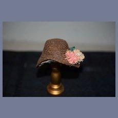 Vintage Artist Doll Hat Straw Bonnet W/ Flowers Petite Size Fashion Doll