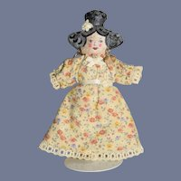 Vintage Miniature Painted Oil Cloth Girl Doll 4 inches