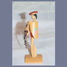 "Vintage Japanese 7"" Bamboo Wood Doll"