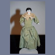 Antique German Dollhouse 6 inch Little Black Hair China Head Doll