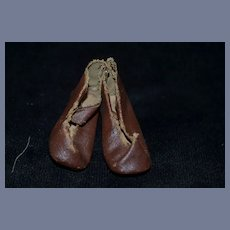 Antique 3 inch Brown Leather Doll Shoes with Heels